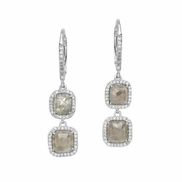 one of a kind rustic diamond double dangle earrings in white gold