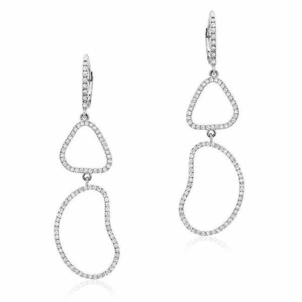 organic shape double drop earrings with diamonds in white gold