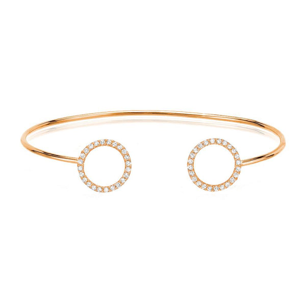double open circle cuff with diamonds in 14k rose gold