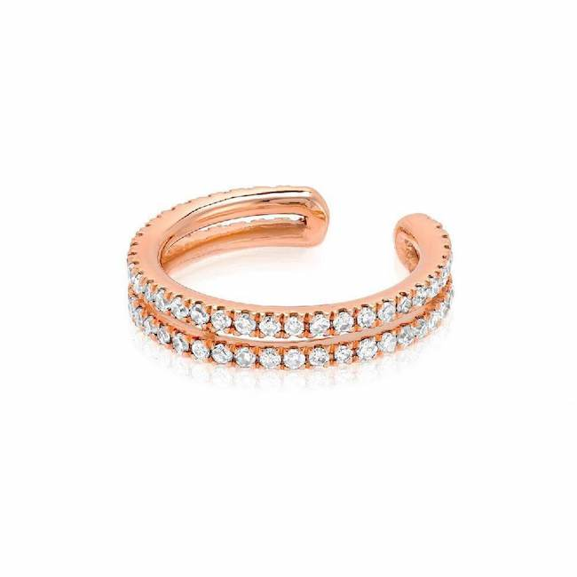 double row ear cuff with diamonds in rose gold