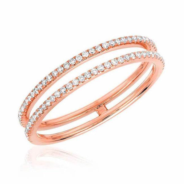 double row diamond ring in rose gold