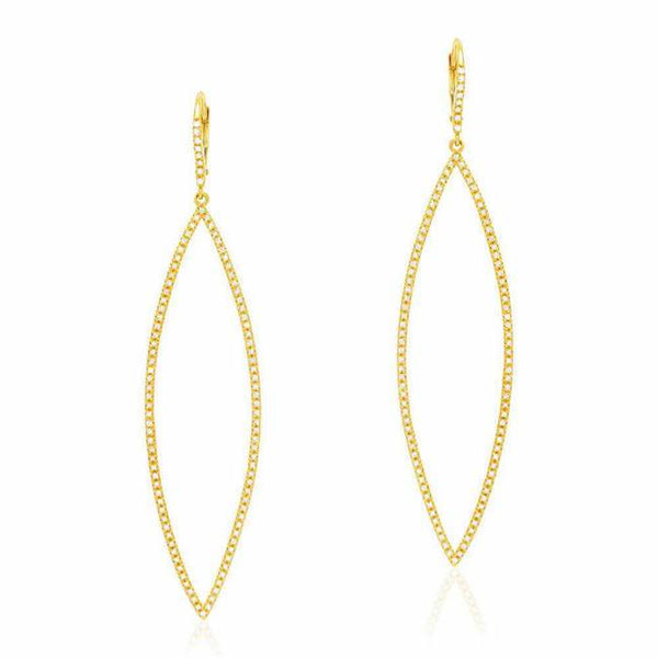 Open Elongated Marquise Earrings With Diamonds in Yellow Gold