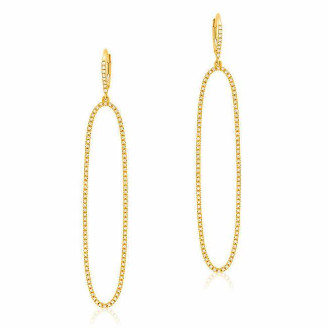 open elongated oval drop earrings with diamonds in yellow gold