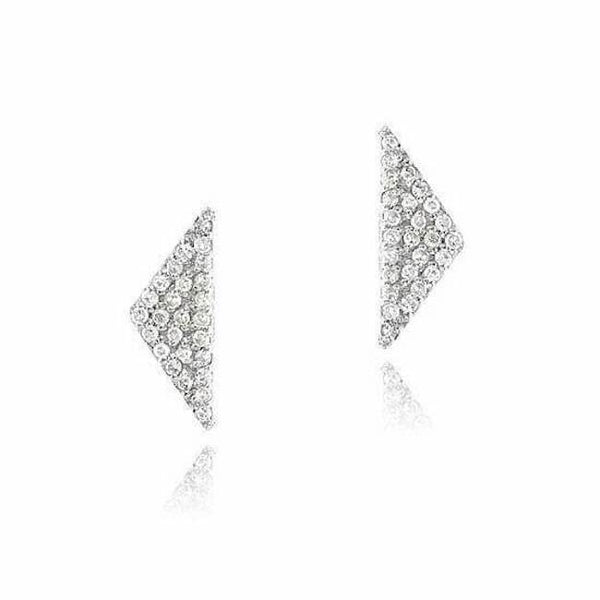 elongated triangle pave post earrings with diamonds in white gold