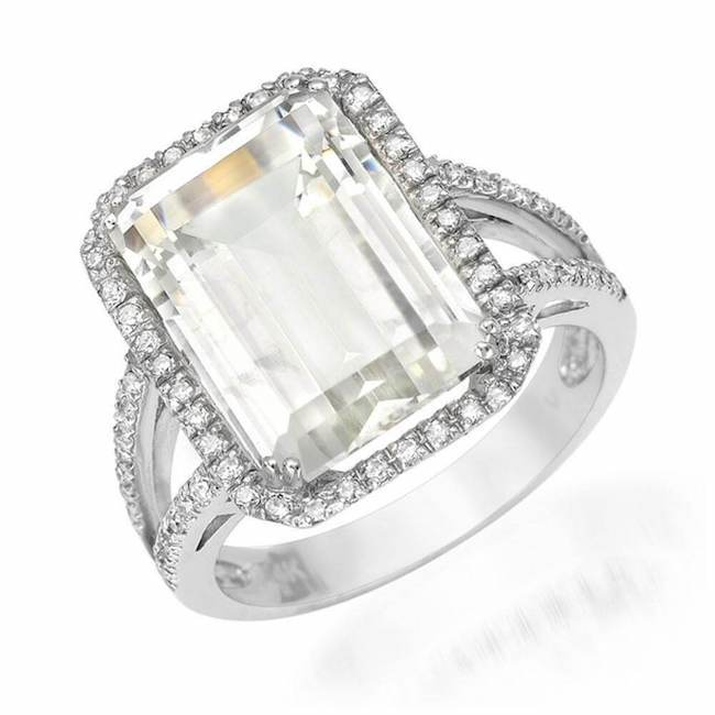 emerald cut white topaz ring with diamonds in white gold