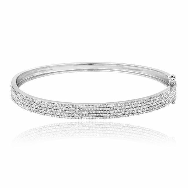five row pave diamond bangle in white gold