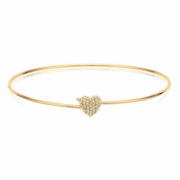 heart pave hook bangle in yellow gold