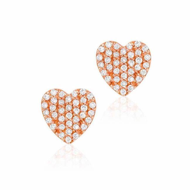 heart pave post earrings with diamonds in rose gold