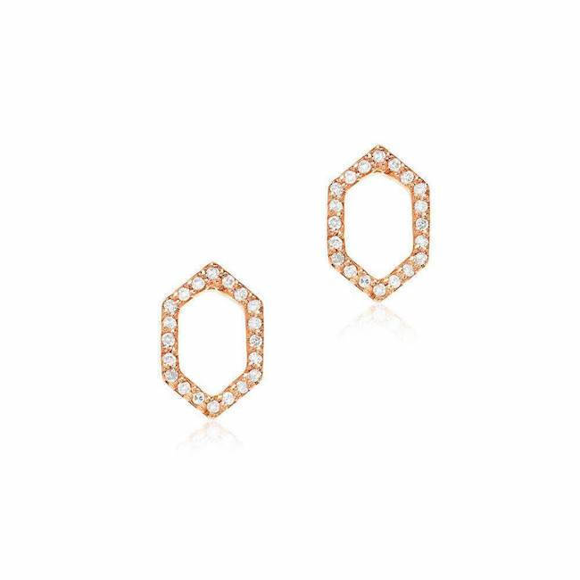 open hexagon post earrings with diamonds in rose gold