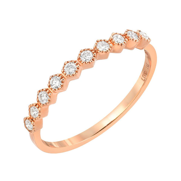 honeycomb halfway band in 14k gold with diamonds