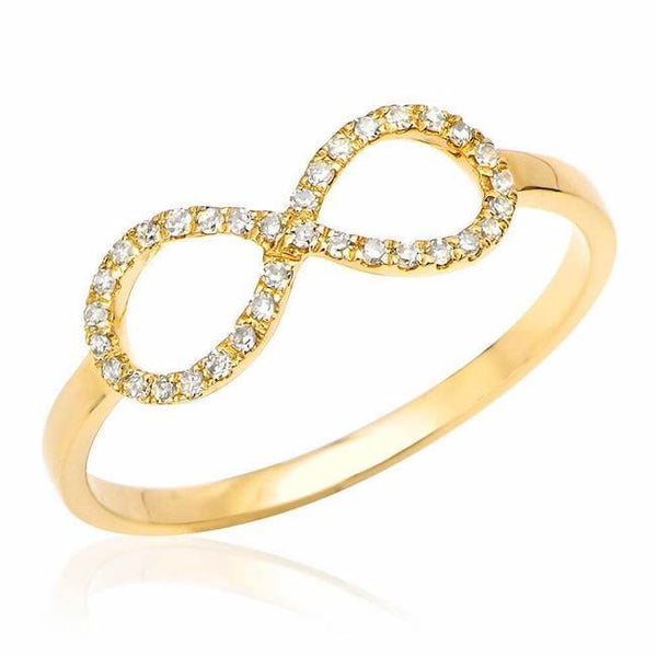 infinity ring with diamonds in yellow gold