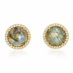 rosie 7.0mm labradorite & diamond post earrings in yellow gold