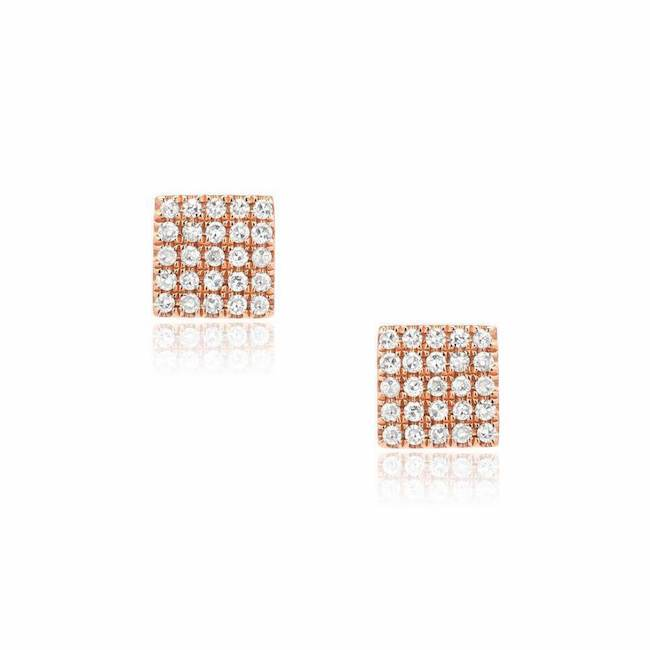 square post earrings in rose gold