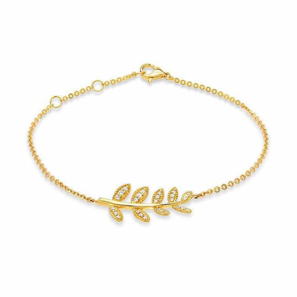 leaf bracelet with diamonds in yellow gold