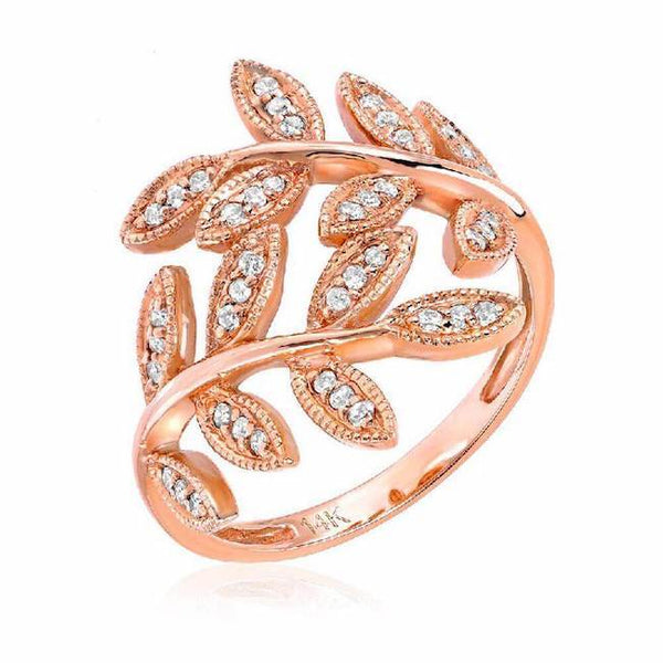 leaf ring with diamonds in white gold
