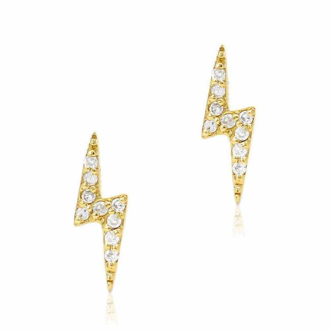 Lightning Bolt Post Earrings Gold And Diamond Earrings Liven Liven Company