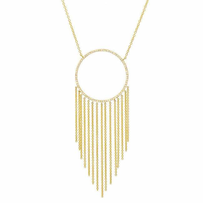 Large open circle necklace with chain fringe