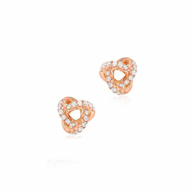 Small love knot post earrings with diamonds in rose gold