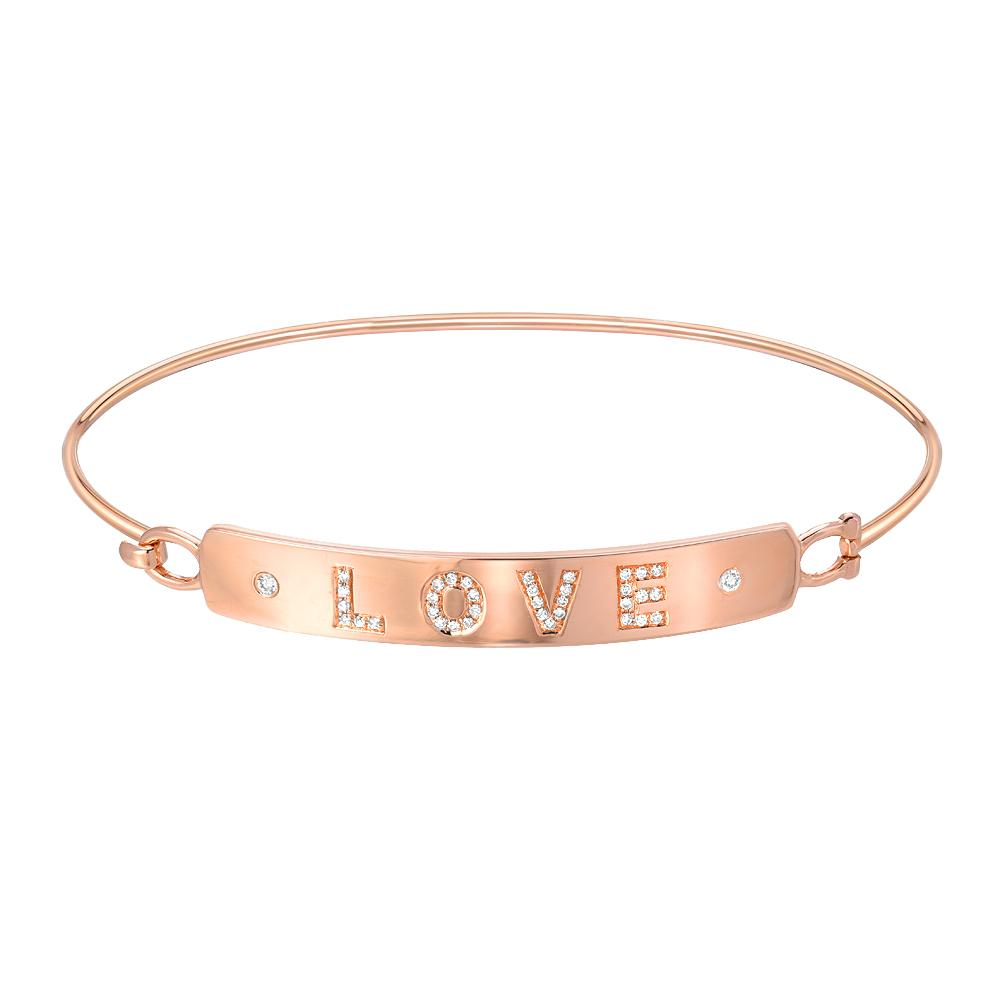 love plaque bangle in rose gold with diamonds