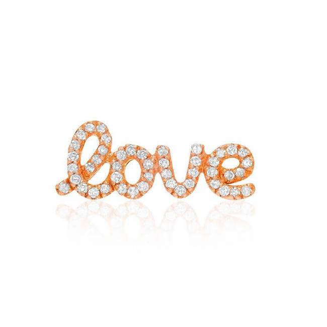 love script post earring in rose gold