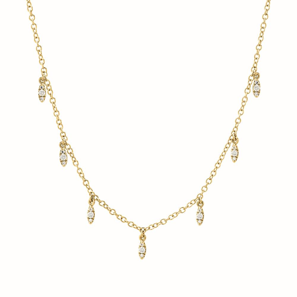 dangling marquise necklace in yellow gold