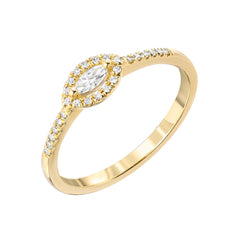 Marquise Halo Halfway Band in 14k yellow gold