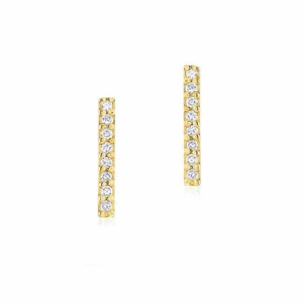 medium bar post earrings with diamonds in yellow gold