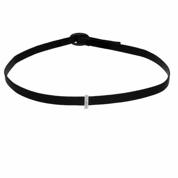 mini bar choker in white gold