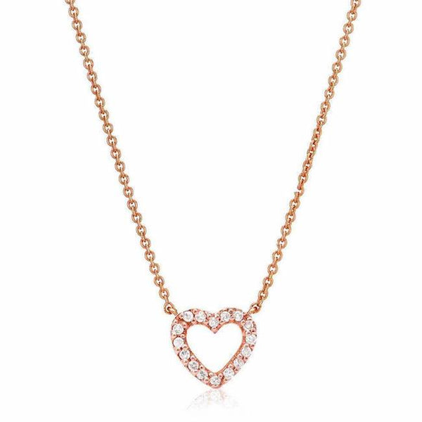 mini open heart necklace in rose gold
