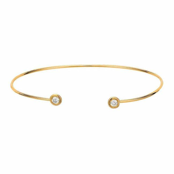 Open Bangle with Bezel Set Diamond tips in yellow gold