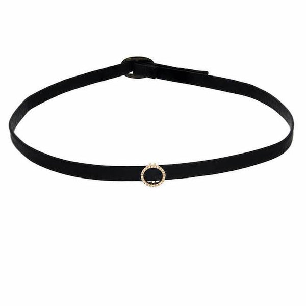 open circle choker in yellow gold