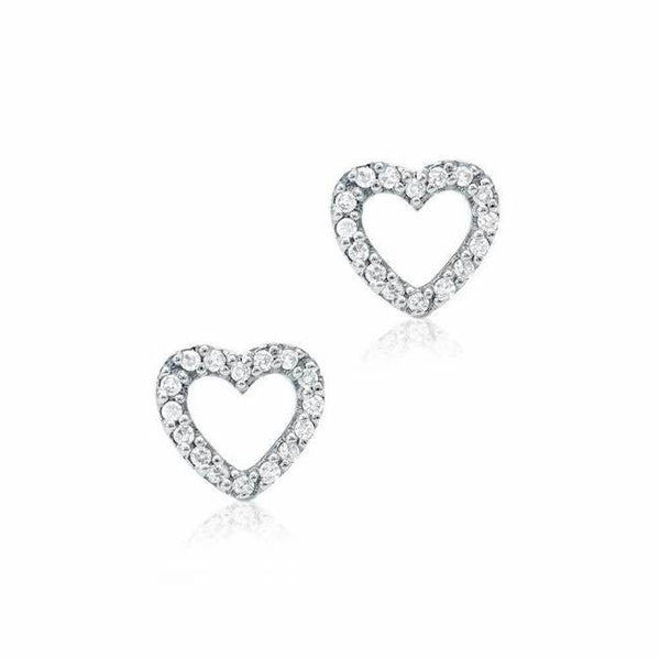 open heart post earrings with diamonds in white gold