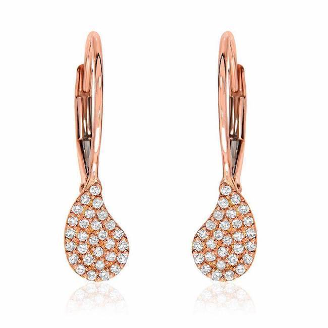 Paisley leverback earrings in rose gold