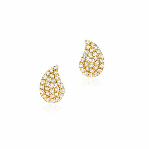PAISLEY PAVE POST EARRINGS IN YELLOW GOLD
