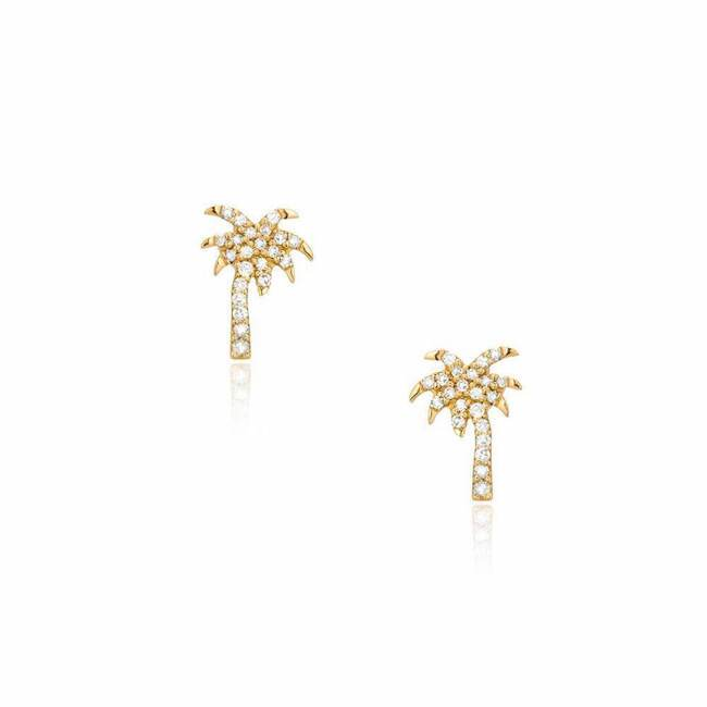 palm tree post earrings in yellow gold