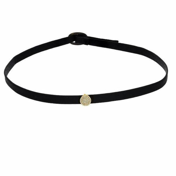 Pave circle choker in yellow gold