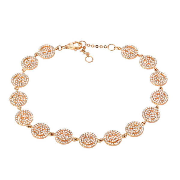 smiley face tennis bracelet in rose gold with diamonds