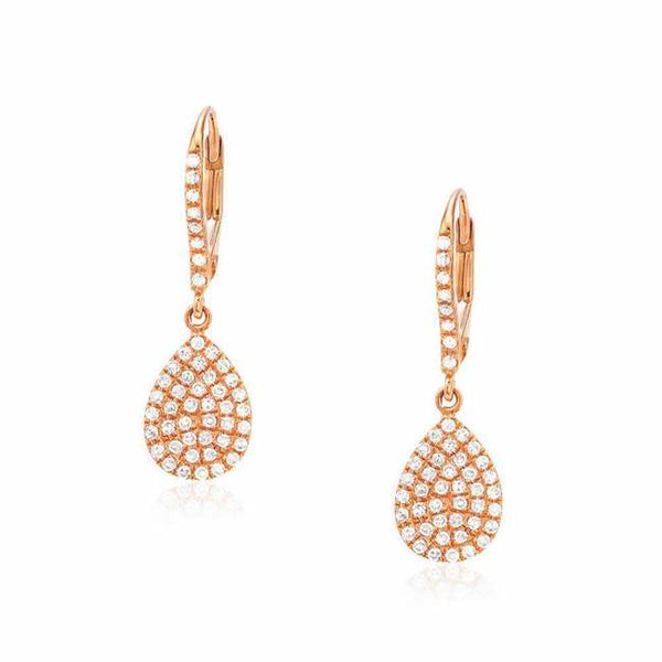 pear pave dangle earrings in rose gold
