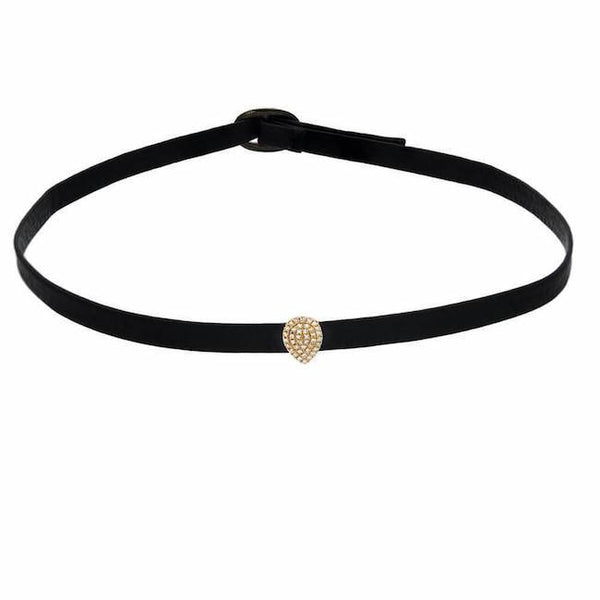 Pave pear shape choker in yellow gold