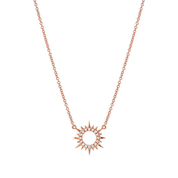 mini sunburst necklace in 14k rose gold with diamonds