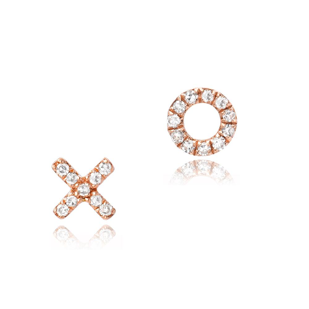 petite XO post earrings in rose gold with diamonds