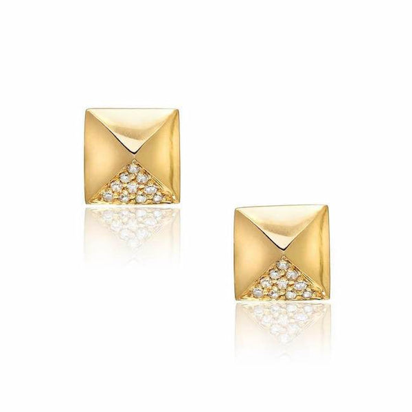 pyramid studs in yellow gold