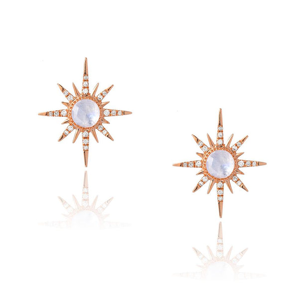 starburst gold earrings with rainbow moonstone centers