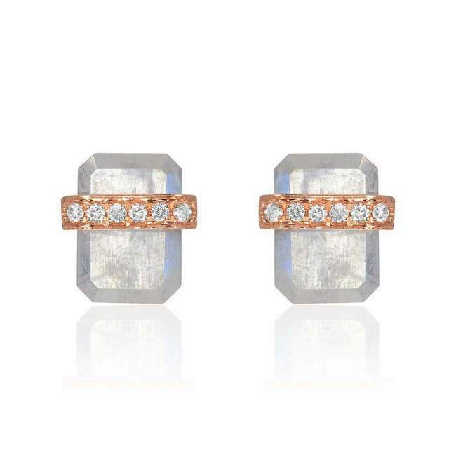 diamond wrapped flat emerald cut rainbow moonstone posts in rose gold