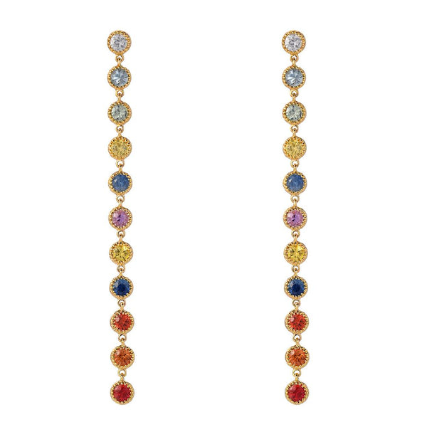 Linea Rainbow Sapphire Dangle Earrings