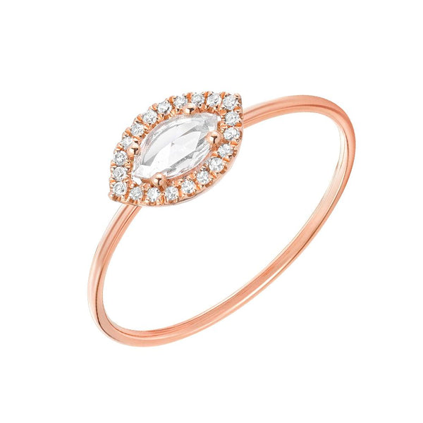 rose cut marquise diamond halo band in 14k rose gold