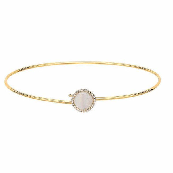 Rainbow moonstone and diamond rosie bangle in yellow gold