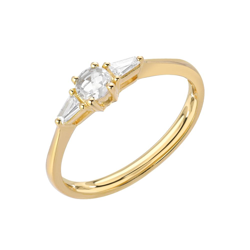 Heirloom Round Rose Cut Band With Tapered Baguette Sides in 14k yellow gold