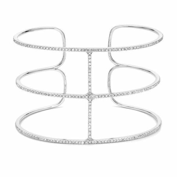 royal cuff with diamonds in white gold