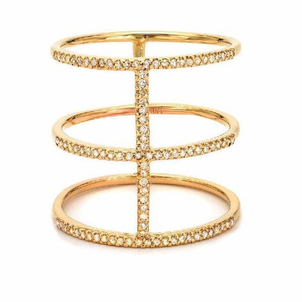 royal ring with diamonds in yellow gold